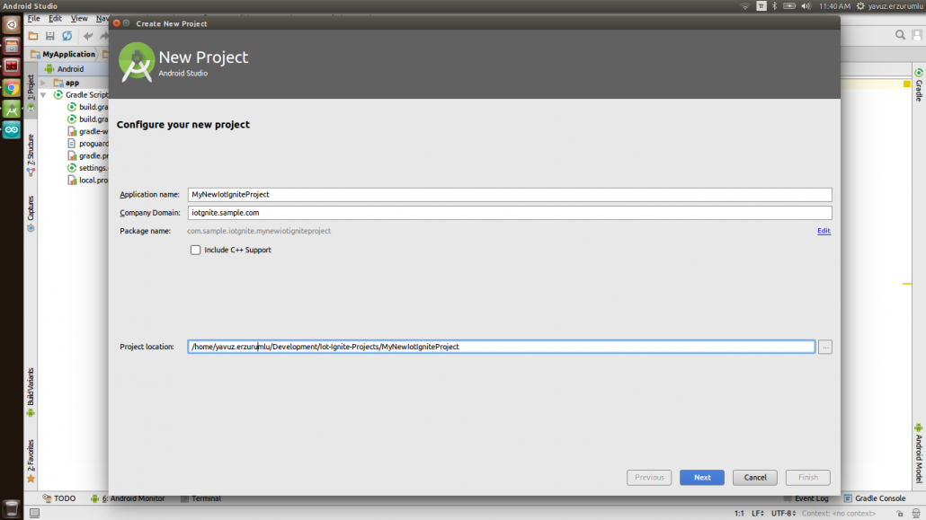 IoT-Ignite Project in Android Studio: Create New Project - Configure your new project Window