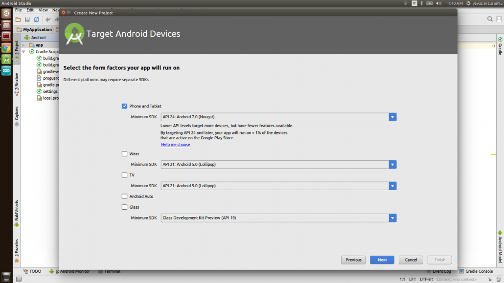 IoT-Ignite Project in Android Studio: Create New Project - Target Android Devices Window