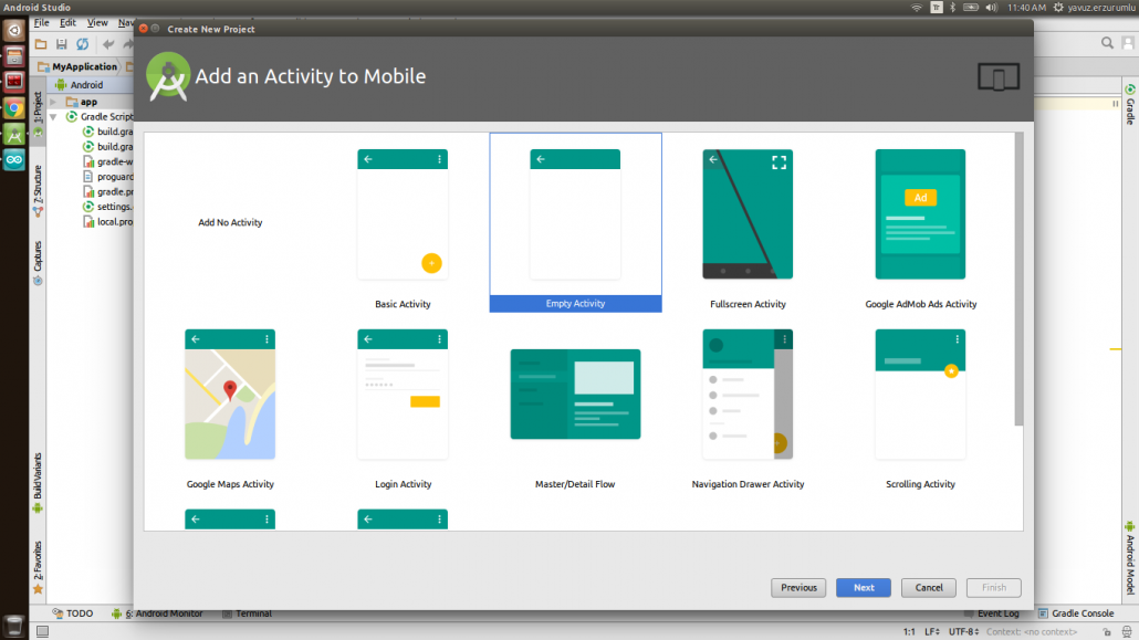 IoT-Ignite Project in Android Studio: Create New Project - Add an Activity to Mobile Window