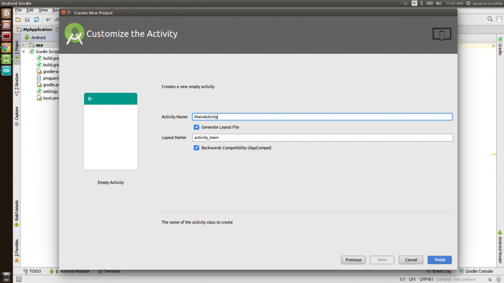 IoT-Ignite Project in Android Studio: Create New Project - Customize the Activity Window