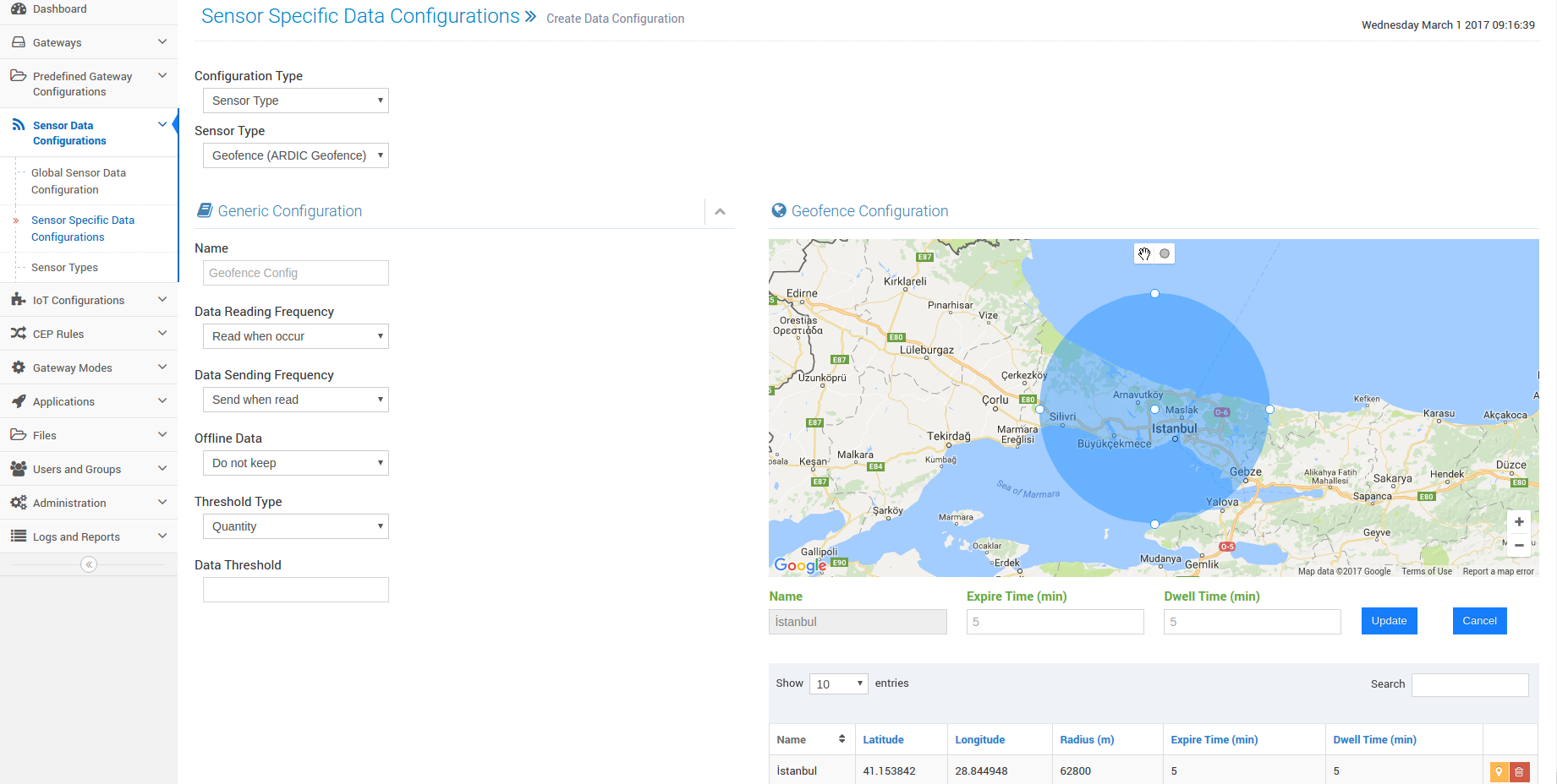 Sensor Data Configurations: Geofence Config