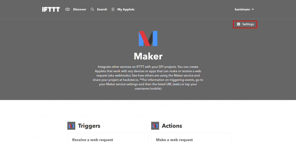 Rule Actions Using External Services > IFTTT Maker Main