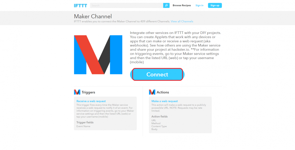Rule Actions Using External Services > IFTTT Maker Channel